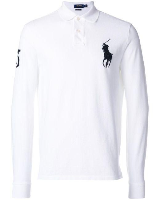 Polo ralph lauren club collar polo shirt in white for men for Ralph lauren polo club shirts