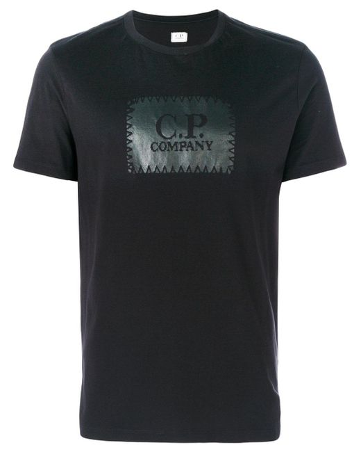 C p company logo print t shirt in black for men lyst for Company logo t shirt printing