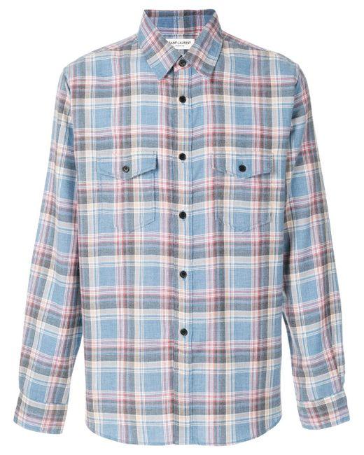 Saint Laurent | Blue Rinse Plaid Narrow Collar Shirt for Men | Lyst