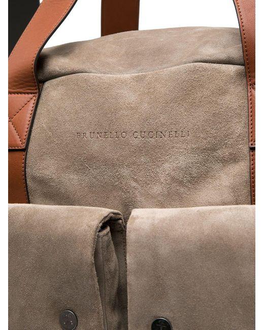 メンズ Brunello Cucinelli レザーボストンバッグ Multicolor