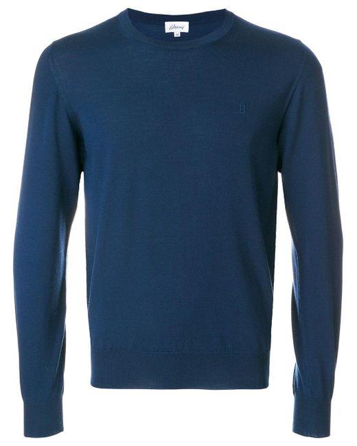 Brioni | Blue Crew Neck Jumper for Men | Lyst