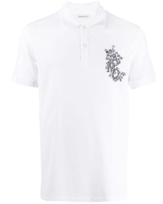 メンズ Alexander McQueen ロゴ ポロシャツ White