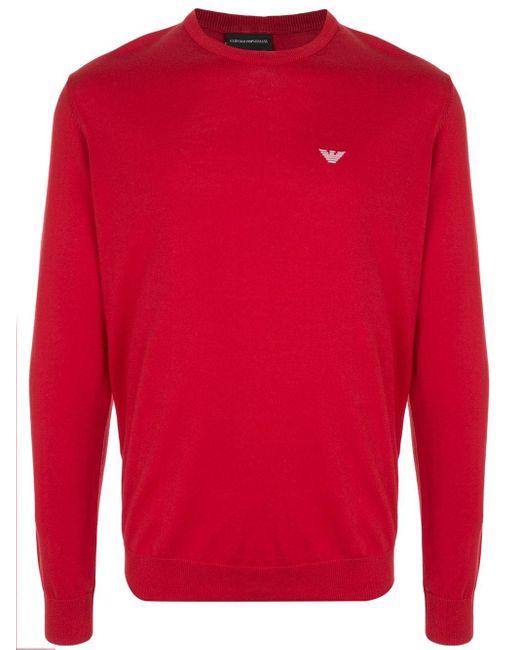 メンズ Emporio Armani ロゴ クルーネック プルオーバー Red