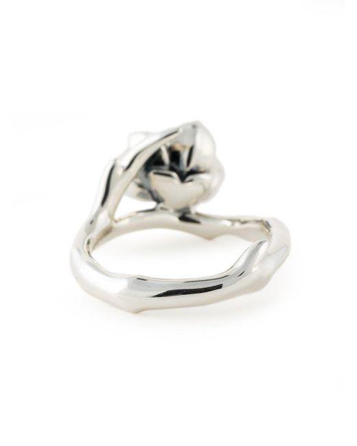 Shaun Leane Metallic Sterling Silver Cherry Blossom Diamond Flower Ring
