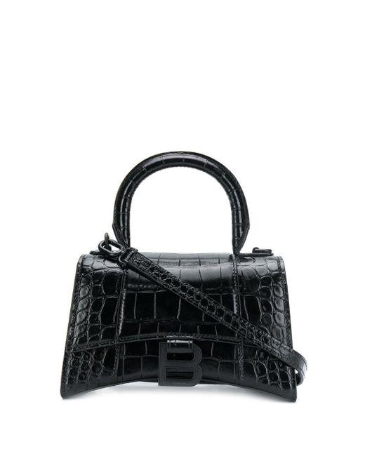 Balenciaga Black Xs Hourglass Top Handle Bag In Croc-embossed Calfskin