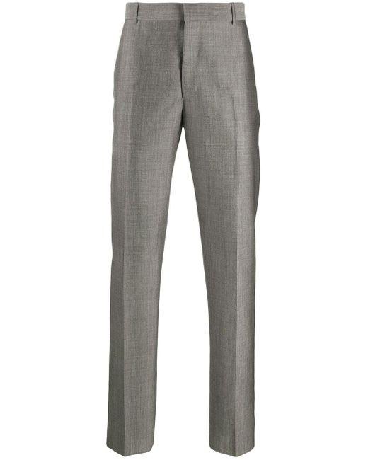メンズ Alexander McQueen サテン テーラードパンツ Gray
