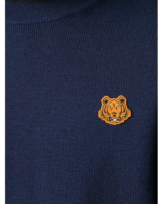 メンズ KENZO タイガーパッチ プルオーバー Blue