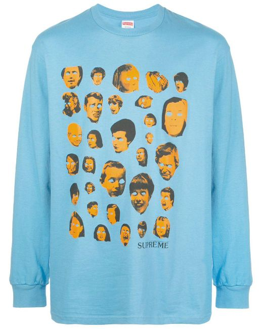 メンズ Supreme Faces ロングtシャツ Blue