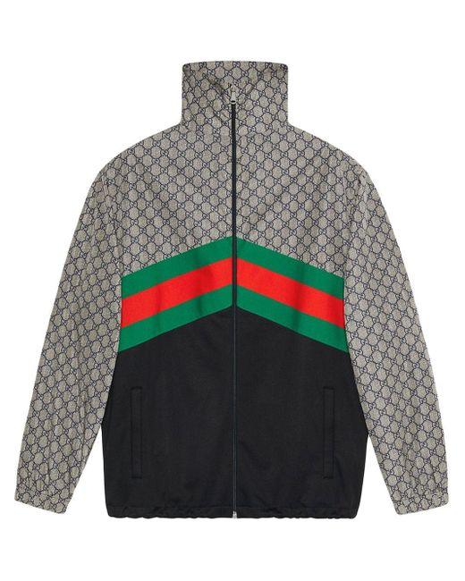 メンズ Gucci オーバーサイズ テクニカルジャージー ジャケット Gray