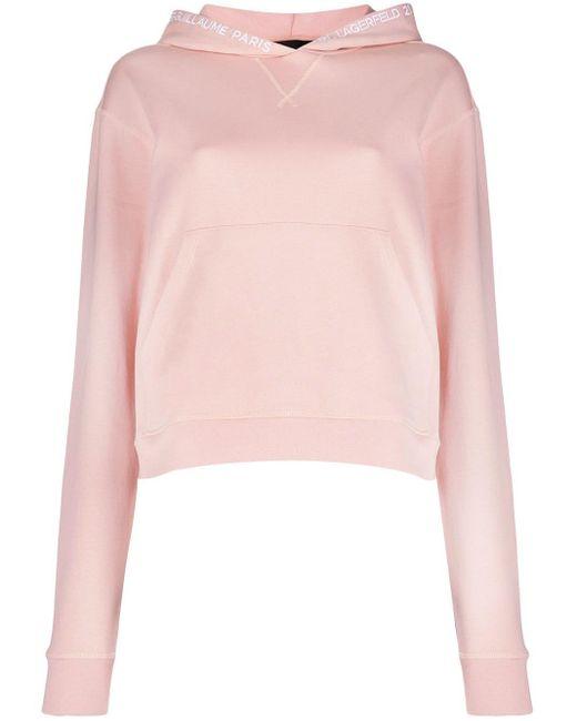 Karl Lagerfeld ロゴエンブロイダリー パーカー Pink