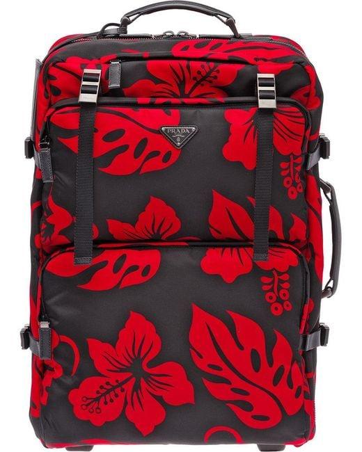 ... promo code for prada red hibscus trolley bag for men lyst 31bba b66ba 2383b17abaa00