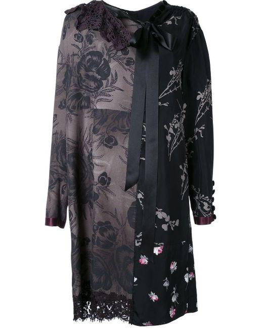 Marc Jacobs フローラルパッチワーク シフトドレス Black