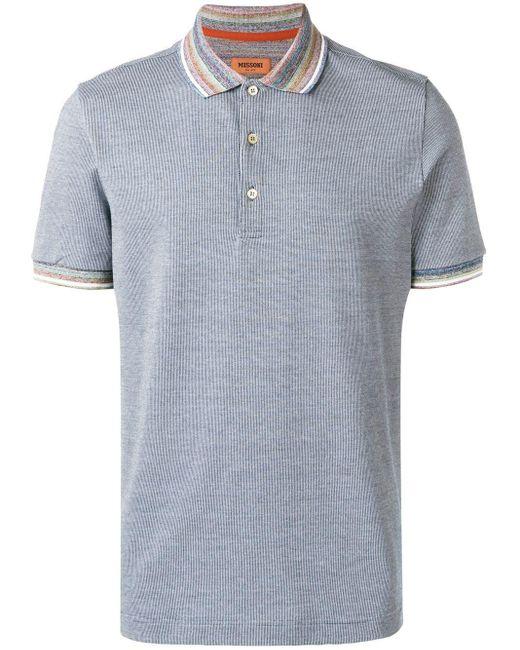 メンズ Missoni コントラストカラー ポロシャツ Gray