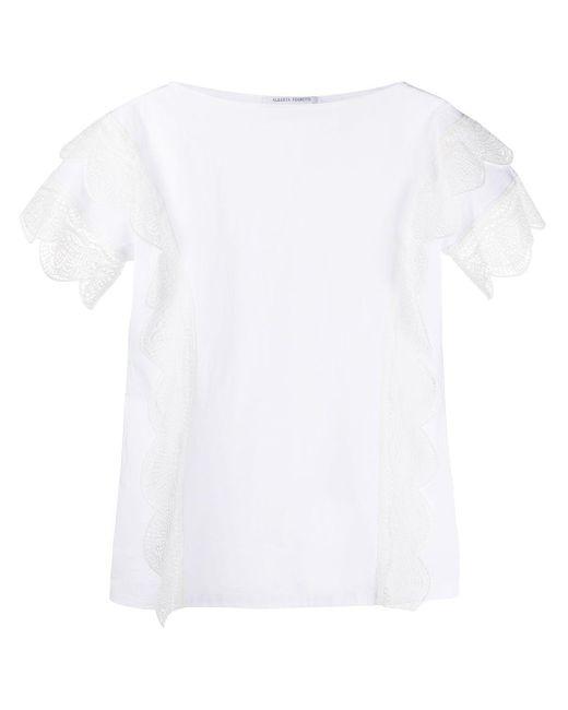 Alberta Ferretti Camiseta de encaje festoneado y estilo boxy de mujer de color blanco jXyE2