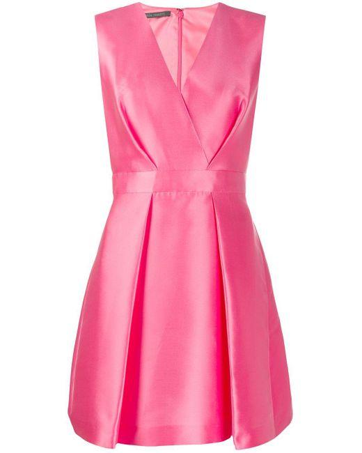 Alberta Ferretti Vネック プリーツ ドレス Pink