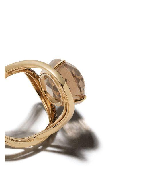 Brumani ダイヤモンド スモーククオーツ 18kイエローゴールド Metallic