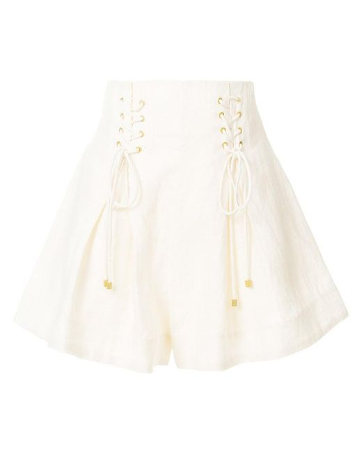 Zimmermann | White High-waisted Lace-up Shorts | Lyst