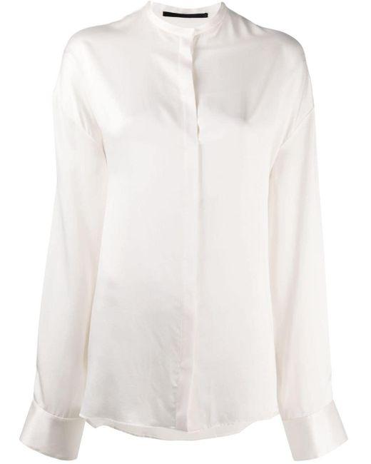 Haider Ackermann マンダリンカラー シルクシャツ White