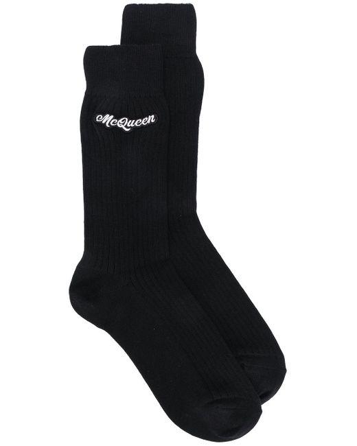 メンズ Alexander McQueen エンブロイダリー 靴下 Black