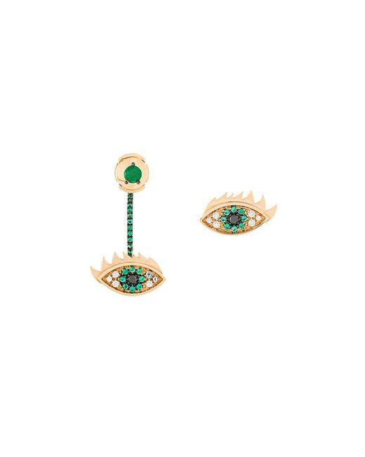 Delfina Delettrez   Metallic 'eyes On Me' Diamond And Emeralds Earrings   Lyst