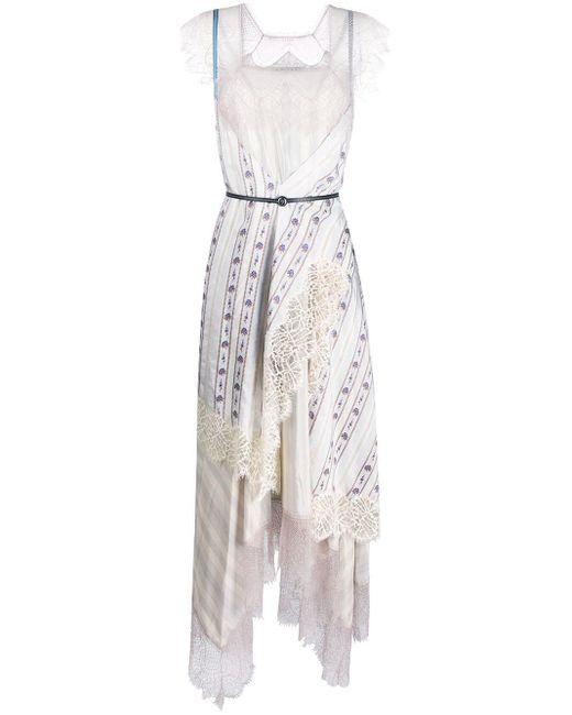 Lanvin ロングプリンテッドシルクパッチワークドレス Multicolor
