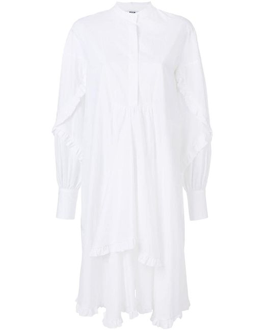 MSGM ラッフルシャツワンピース White