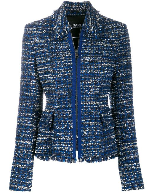Karl Lagerfeld Tweed Boucl� Jas in het Blue