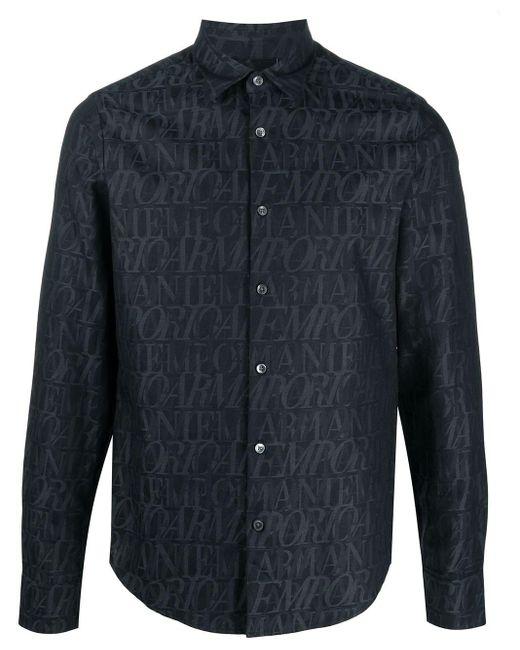 Рубашка С Графичным Принтом И Длинными Рукавами Emporio Armani для него, цвет: Gray