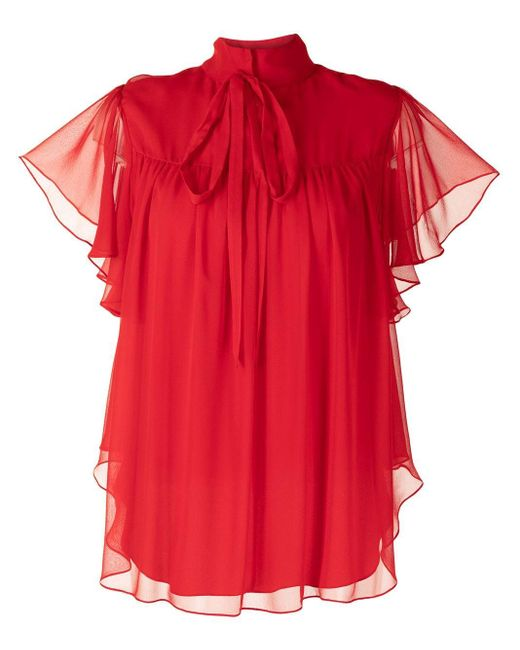 Adam Lippes Red Ruffled Sleeve Blouse