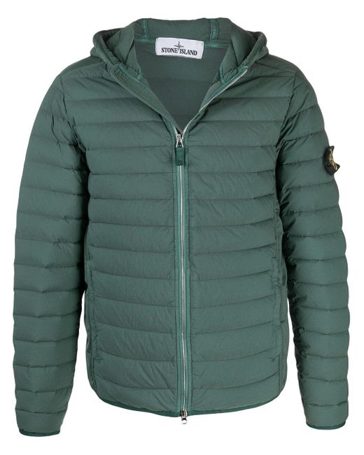 Stone Island Green Hooded Quilted Jacket for men