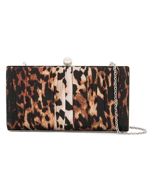 we11done - Brown Leopard Print Chain Clutch Bag - Lyst