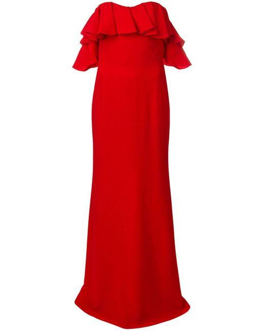Alexander McQueen ドレープ イブニングドレス Red
