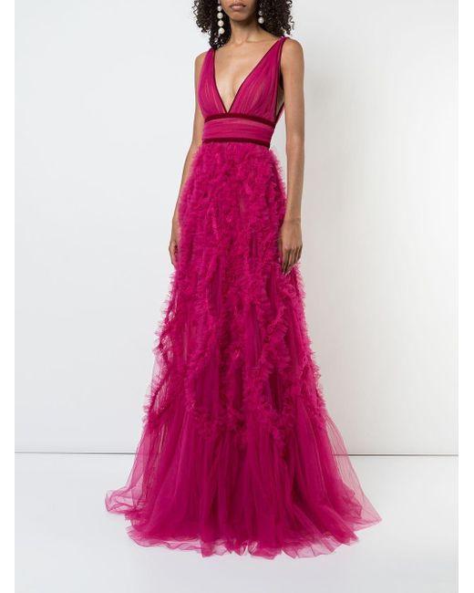 Marchesa notte チュール イブニングドレス Pink