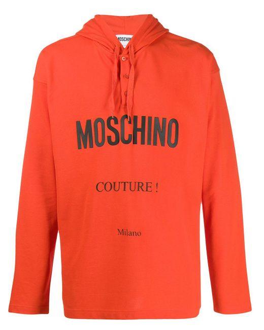 メンズ Moschino ロゴ パーカー Orange