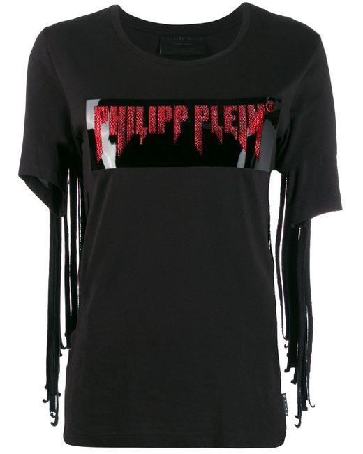 T-shirt à franges Philipp Plein en coloris Black