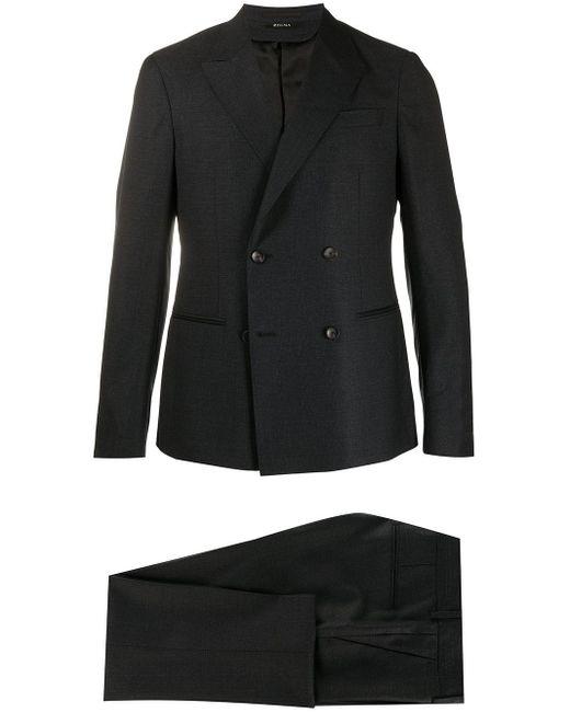 メンズ Z Zegna スリムフィット ダブルスーツ Gray