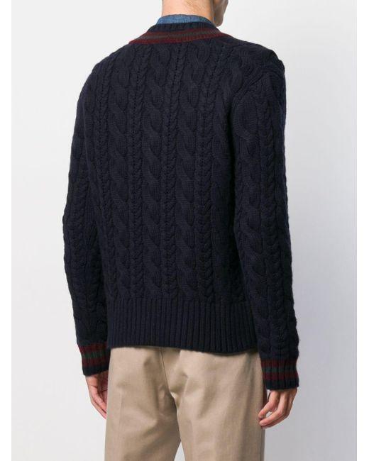 メンズ Ralph Lauren Purple Label ケーブルニット セーター Blue