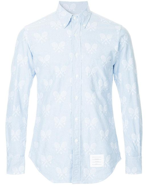 Lyst thom browne tennis embroidery shirt in blue for men for Thom browne shirt sale