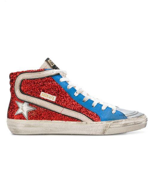 Golden Goose Deluxe Brand Red Slide Sneakers