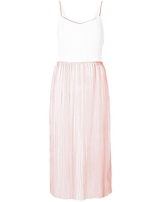 Victoria, Victoria Beckham White Contrast Piped Midi Dress