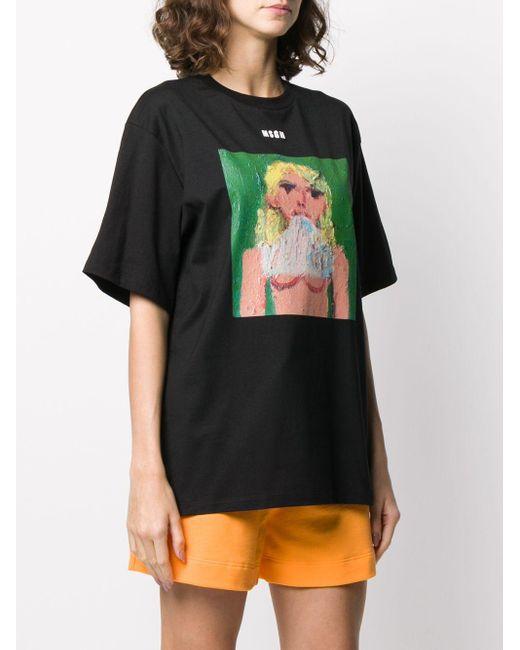 MSGM プリント Tシャツ Black