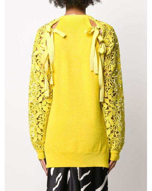Top en maille à manches en dentelle N°21 en coloris Yellow