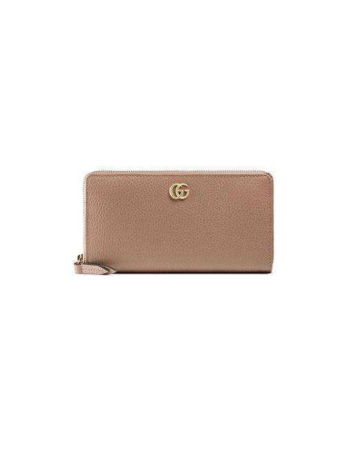 Gucci Pink GG Marmont Leather Zip Around Wallet