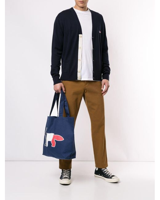 Bolso shopper con logo estampado Maison Kitsuné de color Blue
