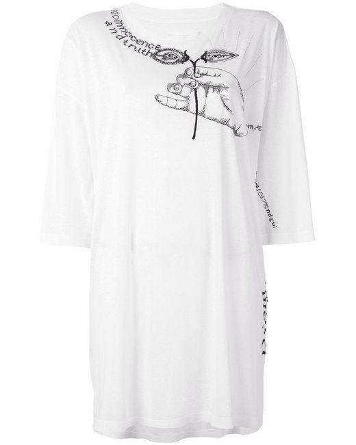 Maison Margiela - White Embroidered Oversize T-shirt - Lyst