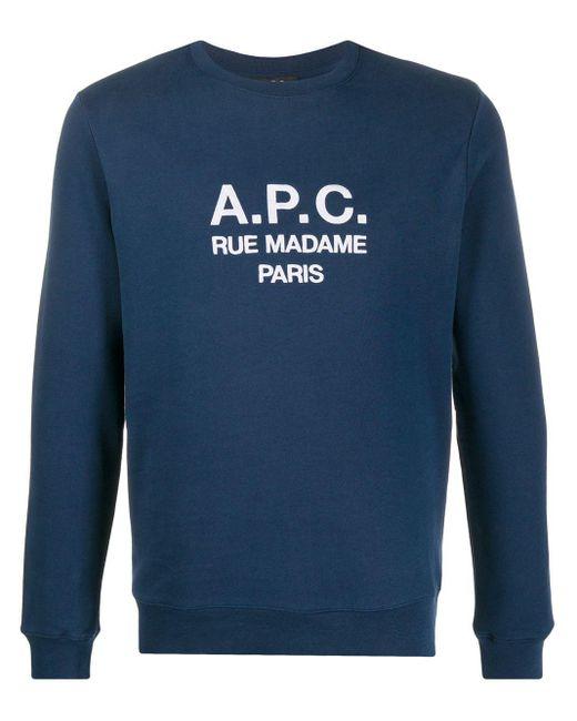 メンズ A.P.C. Rufus コットンスウェットシャツ Blue