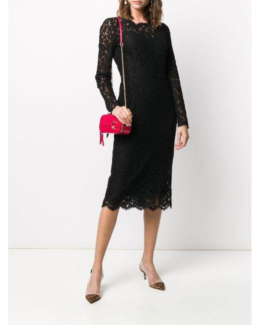 Платье Из Цветочного Кружева С Длинными Рукавами Dolce & Gabbana, цвет: Black