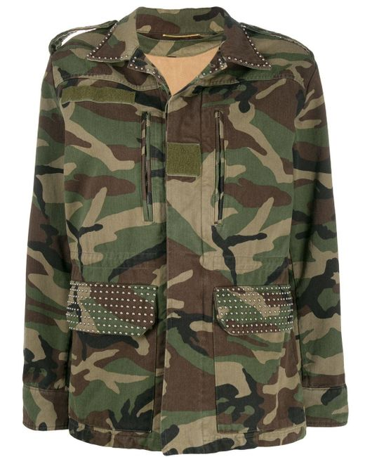 Saint Laurent Green Parka Gabardine Camouflage Jacket