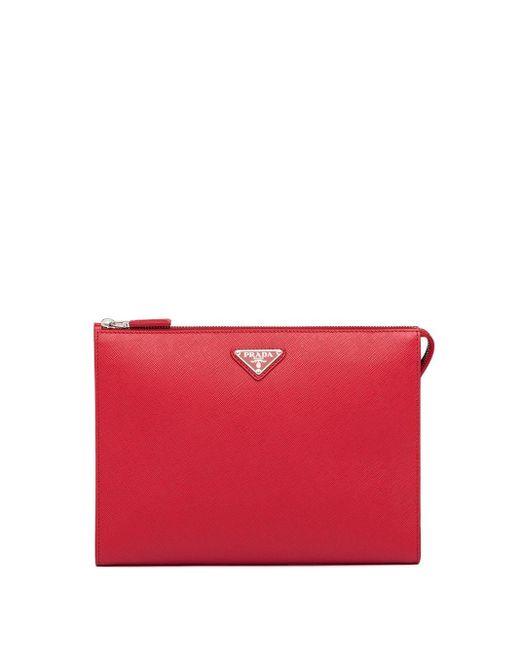 Prada Red Saffiano Leather Clutch Bag for men