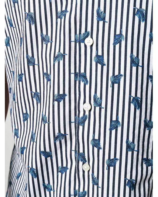 メンズ BOSS by Hugo Boss フェザープリント ストライプシャツ Blue
